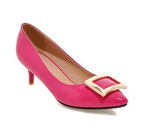 Point Toe Square Buckle Court Shoes Paint Leather Low To Help Women's Shoes , peach red , 36