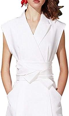 ZAGO Vestidos de Las Mujeres diarias Vintage Camisa Blanca sin Mangas A Word Falda Temperamento Camisa Falda Vestido Largo para Prom Party (Size : XL): Amazon.es: Hogar
