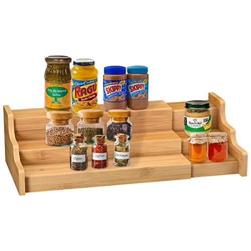 Spice Rack Kitchen Cabinet Organizer 3 Tier Bamboo Expandable Display Shelf Pricepulse