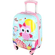 Lttxin Cute Kids Suitcase Pull Along Travelling Luggage With 4 Wheel for Girl Hard Shell 18 inch Owl