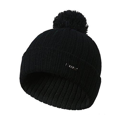 DEATU Knit Beanie for Women & Men Vertical Strip Simple Woolen Ball Popular Knit Hat(Black)