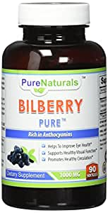 Pure Naturals Bilberry Extract 1000 mg Soft Gels, 90 Count