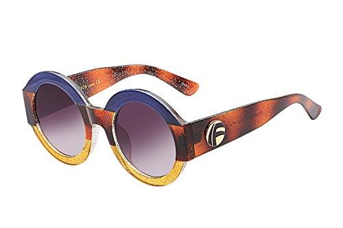 UV- Oversized Round Sunglasses Women Multi Tinted Frame,Fashion Trend Sunglasses(blue yellow - Lens Trend Yellow Sunglasses