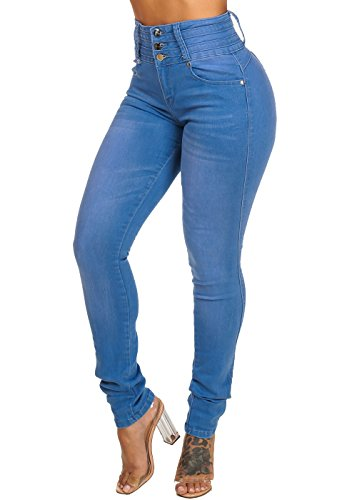Womens Stylish High Waisted Med Wash Colombian Butt Lifting Style Jeans 10674H
