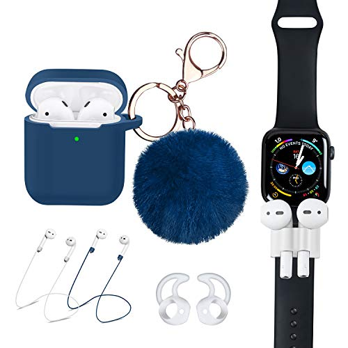 Airpods Case [Front LED Visible] 7 in 1 Airpod Accessories Kit Protective Silicone Cover Compatible Apple Airpod 2&1 Charge with Air Pod Ear Hook/Tip/Airpod Strap/Watch Band Holder/Fur Ball-Blue