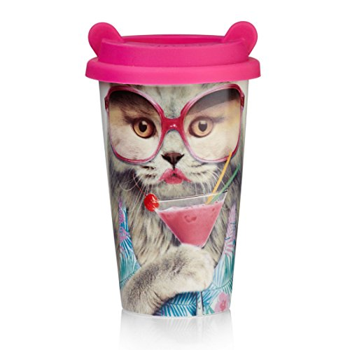 Mustard Reusable Travel Coffee Mug Cup - Coffee Crew Cat by Mustard and Co.