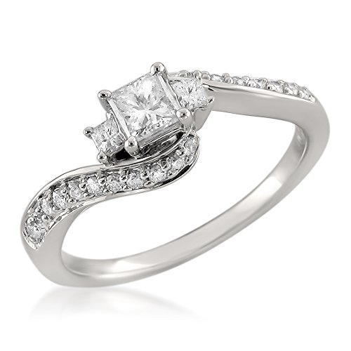 14k White Gold Three Stone Princess cut & Round Diamond Engagement Ring (1/2 cttw, I J, I1 I2)