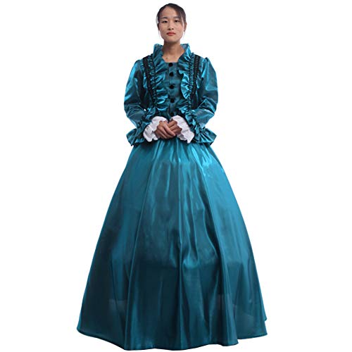 GRACEART Women Medieval Renaissance Lolita Dress Masquerade Ball Gown Green -