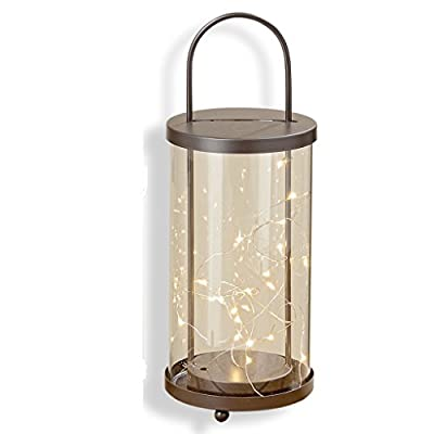 "The Urban Chic Industrial Hurricane Lantern, Vintage Brown Iron with Glass Panels, 20 Micro LED Lights, 11"" High, (28cm Tall) Battery Powered, (2 AA not included) By Whole House Worlds"
