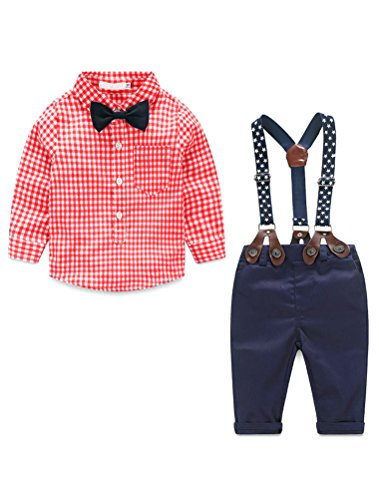Baby Boys Gentleman Long Sleeves Plaid Bowtie Romper Suspenders Shorts Two-Piece Set Red ()