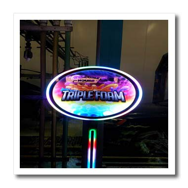 (3dRose Lens Art by Florene - Interesting Objects - Image of Neon Quirky Sign in Car Wash Says Triple Foam - 6x6 Iron on Heat Transfer for White Material (ht_317051_2))