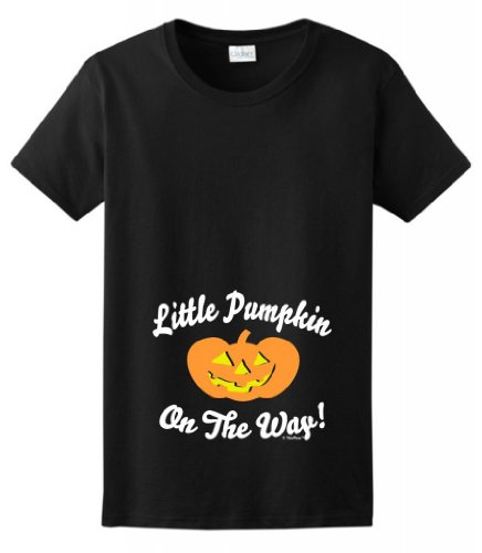 Little Pumpkin On the Way Maternity Themed Ladies T-Shirt 2XL Black