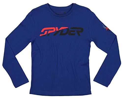 Wordmark Blue Tee Youth - Spyder Youth Boys Athletic Long Sleeve Graphic Cotton Tee, Limoges Blue/Two Tone Wordmark, Medium 10-12