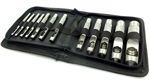 12pc Hollow Hole Metal Leather Punch Set 1/8