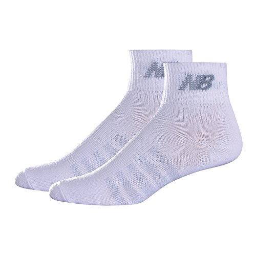 New Balance Unisex 2 Pack Thin Quarter with Coolmax Socks, Small, White