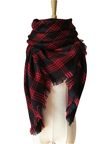 MOLERANI Women's Tassels Soft Plaid Tartan Scarf Winter Large Blanket Wrap Shawl (One Size, 11-Black Red)