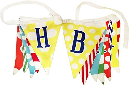 """""""HAPPY BIRTHDAY"""" BANNER by Lily & Logan - 10 ft Premium Polycotton Fabric Pennants/Flag Banner - Great for All Ages and Occasions"""