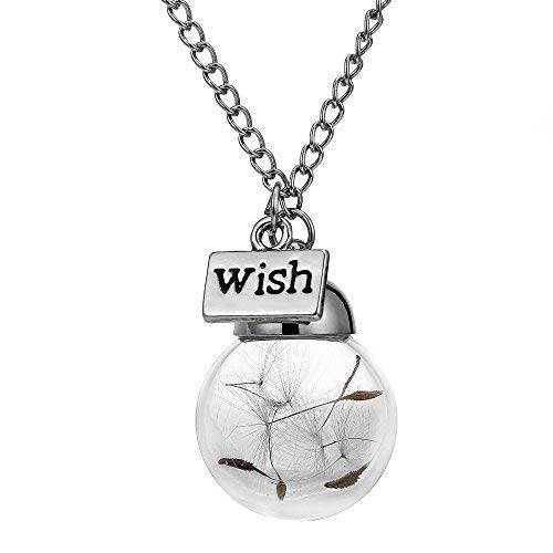 - YoungSun Valentine Gift Glass bottle necklace Natural dandelion seed in glass necklace Wish Glass Bead silver plated jewelry