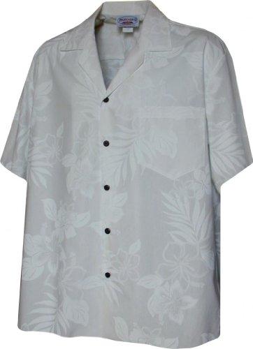 Hawaiian Aloha Shirt Pure White Hibiscus Palm Leaves (Made in Hawaii)