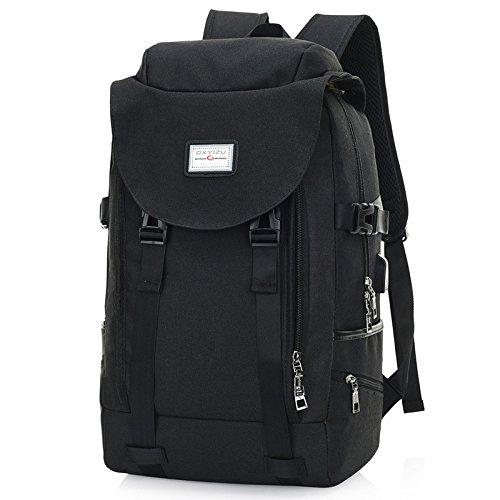 Mode Trend USB-Ladekabel Rucksack Männlich Große Kapazität Outdoor Reisen Rucksack Weiblich Student Freizeit Schultasche,Black Black