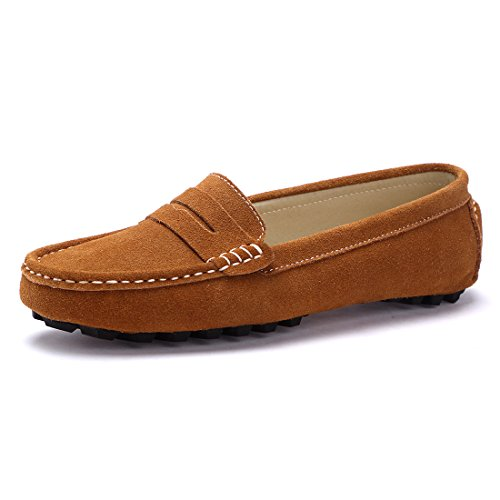 SUNROLAN Casual Women's Suede Leather Driving Moccasins Slip-On Penny Loafers Boat Shoes Flats (8 B(M) US, Light Brown)
