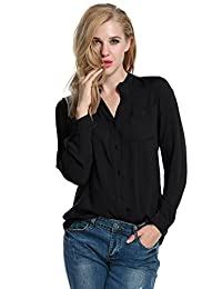 Meaneor Women Rayon Long Sleeve V Neck Button Down Casual Tees T Shirts Blouse
