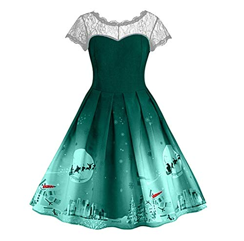 Moko-PP Christmas Women Short Sleeve Lace Patchwork ing Vintage Gown Party Dress