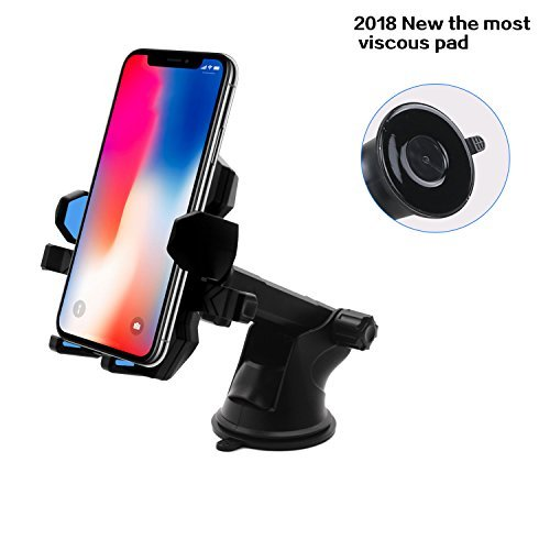 Car Phone Mount,XRXD Car Mount Washable Strong Sticky Gel Pad with One-Touch Design Dashboard Car Phone Holder for iPhone X/8/8Plus/7/7Plus/6s/6Plus/5S, Galaxy S5/S6/S7/S8, Note 8, LG (Blue)