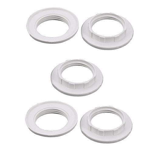 uxcell 5pcs Screw Bulbs Lamp Holder Twist and Lock E14 Socket Replacement Ring White