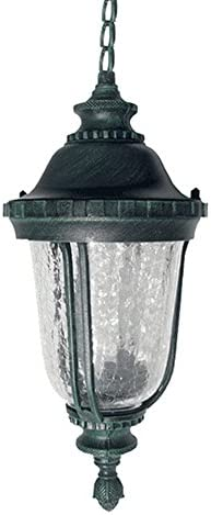 ETOPLIGHTING Bellagio Collection Exterior Outdoor Pendant Hanging Lantern with Hammered Glass, Verde Green APL1036