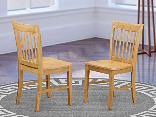 East West Furniture NFC-OAK-W Norfolk mid-century dining chairs - OAK Wooden Seat and OAK Solid wood Frame modern dining chair set of 2
