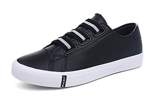 Aisun Mens Comfort Casual Round Toe Elastic Low Top Flat Sneakers Skateboard Shoes Black vTXWGQNIy