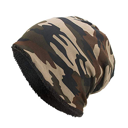 Kimloog Women Men Fleece Slouchy Beanie Hat Camouflage Warm Winter Ski Skull Cap (Coffee) for $<!--$4.99-->