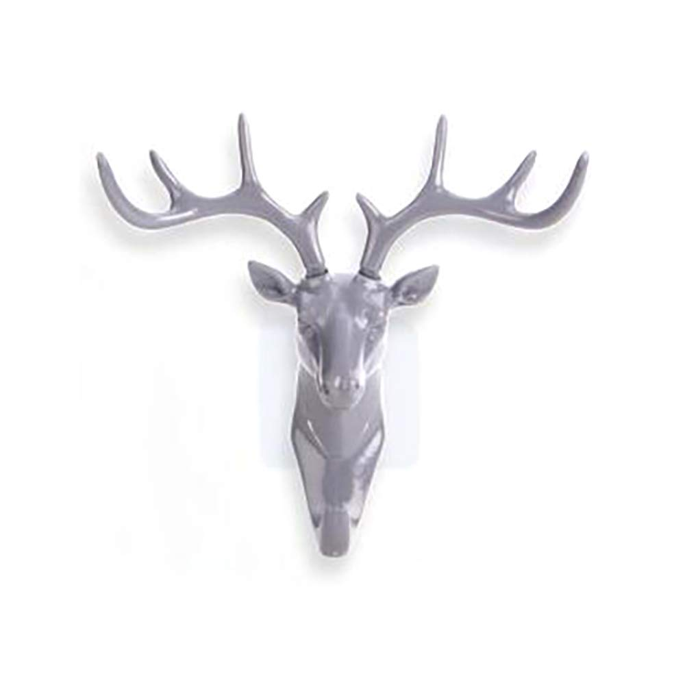 Antlers Wall Mounted Key Rack Organizer Clothes Hook for Entryway Kitchen Office Decor (Gray) Naisidier