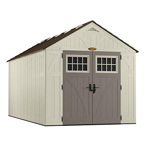 Suncast 16' x 8' Tremont Storage Shed - Natural Wood-Like Outdoor Storage for Power Equipment and Yard Tools - All-Weather Resin Material, Skylights and Shingle Style Roof