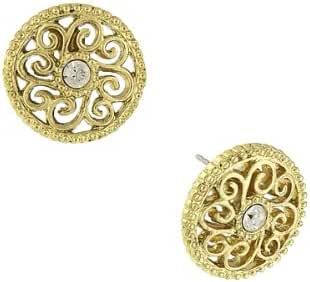 1928 Jewelry Gold-Tone Filigree Crystal Round Stud Earrings