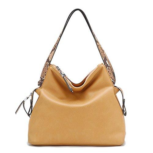 Tosca Python Trimmed Shoulder Handbag (Tan) - Python Hobo Handbag