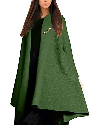 in in in Giaccone Elegante Cappotto Irregular Puro Colore Tasche Pile Pile Pile Moda Bavero Lana Donna Ragazza Verde Laterali Cardigan Manica Invernali Calda Giacca Lunga di watcpq