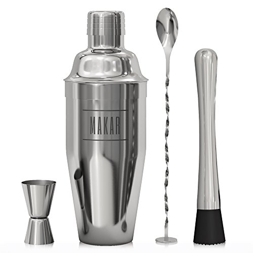 Large Martini Shaker (Mixology Kit by Makar | Manhattan Cockail Shaker, Jigger, Muddler, Mixing Spoon| Complete Stainless Steel Tool Set for Home Party or Professional Use)