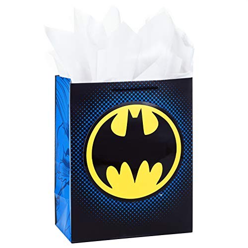 Hallmark Large Batman Gift Bag with Tissue Paper for Birthdays, Father's Day, and More