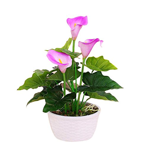 Artificial Lily Silk Flowers Decoration Desk Ornaments Gifts (White) - 8