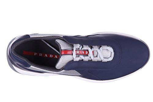Prada scarpe sneakers uomo in pelle nuove nevada blu