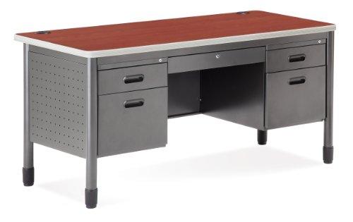 Cherry Standard Cabinet (OFM Mesa Series 5-Drawer Steel Desk with Laminate Top - Durable Locking Utility Desk, Cherry, 30