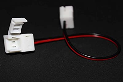 10 Pcs Packed 2pins 8mm Wide Waterproof LED Strip Light Connector Adapter for SMD 3528 Single Color LED Strip Light, No Need Soldering (8mm 3528 Standard Color Led Strip Light Connector)