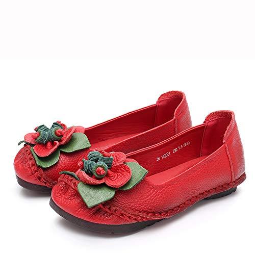 FLYRCX Chaussures Plates en Cuir Fleur rétro Mode Bouche Confortables Peu Profonde Fond Souple Confortables Bouche Chaussures de Travail antidérapantes Dames Chaussures Simples 38 EU|red d479f6