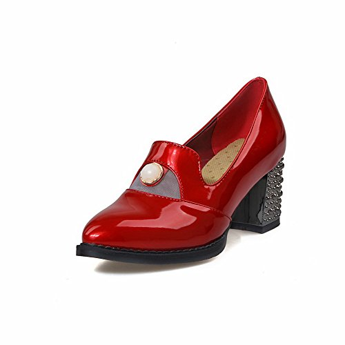 AmoonyFashion Womens Pu Kitten Heels Pointed Closed Toe Solid Pull On Pumps-Shoes Red 3F0IS