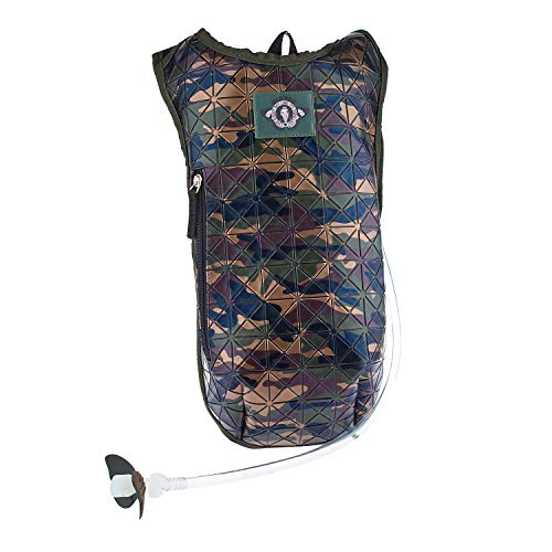 Dan-Pak Hydration Pack 2l-Campground Camo (Green) -Green Camouflage Rubber Faux Leather Geometric Design