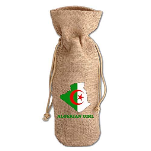 Algerian Girl Jute Burlap Wine Drawstring Bag Wine Sack Natural