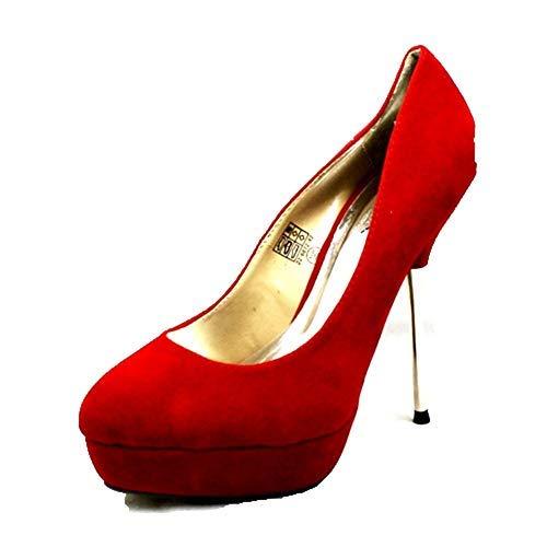Ante Rojo Mujer Sendit4me Alto Tacón De Con Oculta Imitación Antelina Stiletto Metal Plataforma vzdwFqz
