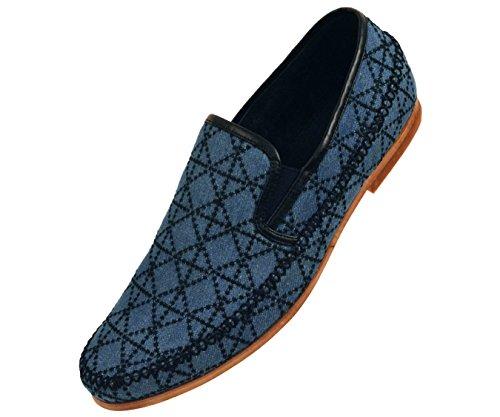 Amaliene Mens Kle Tilfeldige Loafers I Vevet Brodert Design Woodlike Såle Stiler Trey, Felle, Harmon Blå / Denim